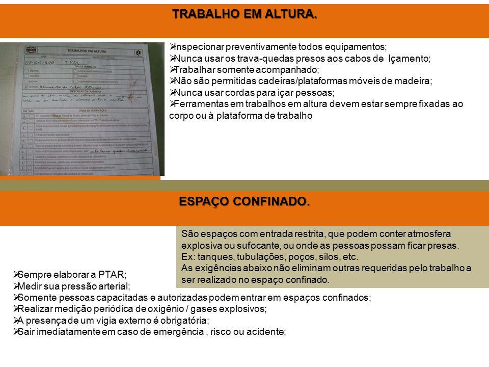 TRABALHO EM ALTURA. ESPAÇO CONFINADO.