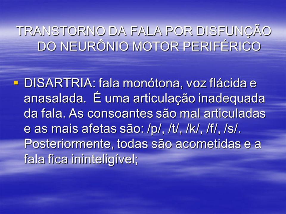 TRANSTORNO DA FALA POR DISFUNÇÃO DO NEURÔNIO MOTOR PERIFÉRICO
