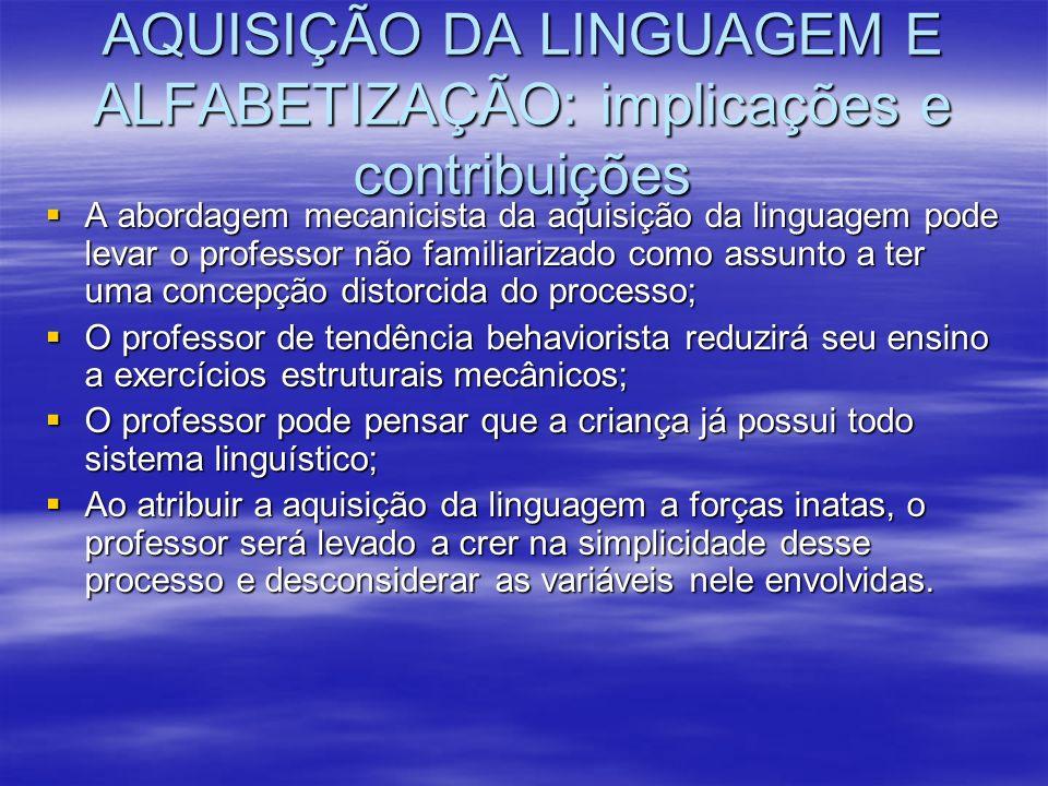 AQUISIÇÃO DA LINGUAGEM E ALFABETIZAÇÃO: implicações e contribuições