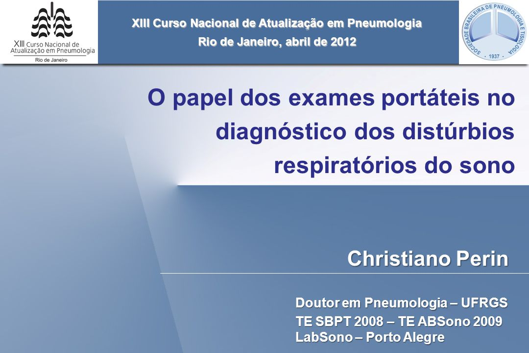 XIII Curso Nacional de Atualização em Pneumologia
