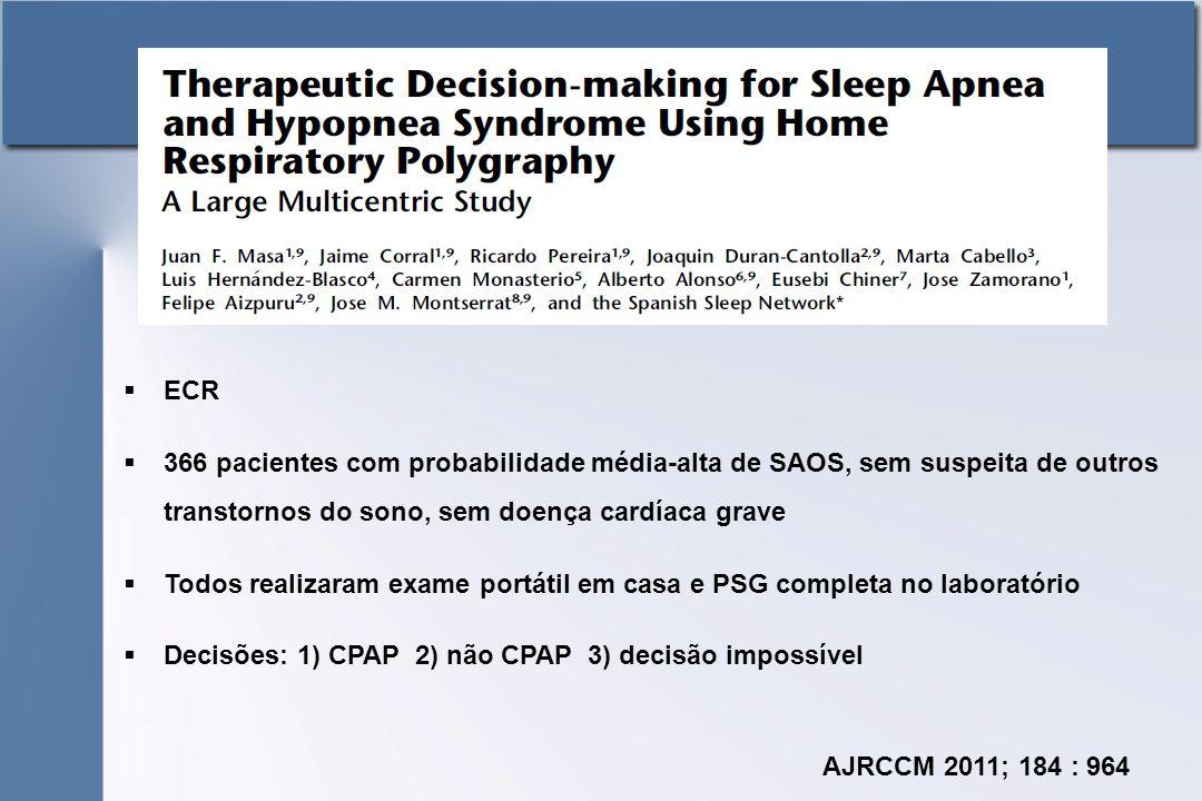 ECR 366 pacientes com probabilidade média-alta de SAOS, sem suspeita de outros transtornos do sono, sem doença cardíaca grave.