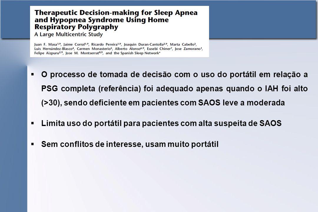 O processo de tomada de decisão com o uso do portátil em relação a PSG completa (referência) foi adequado apenas quando o IAH foi alto (>30), sendo deficiente em pacientes com SAOS leve a moderada
