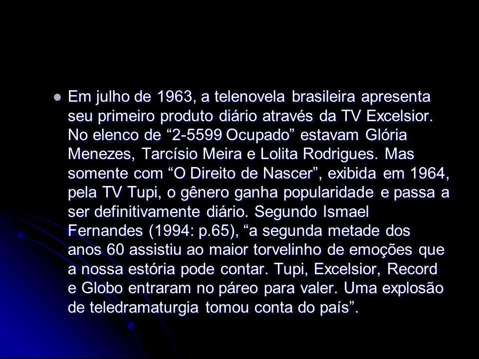 Em julho de 1963, a telenovela brasileira apresenta seu primeiro produto diário através da TV Excelsior.