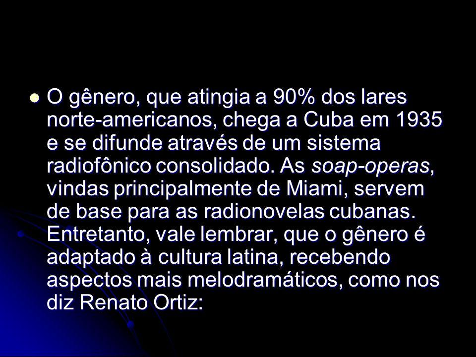 O gênero, que atingia a 90% dos lares norte-americanos, chega a Cuba em 1935 e se difunde através de um sistema radiofônico consolidado.