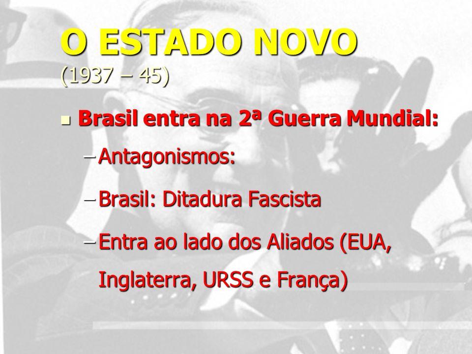 O ESTADO NOVO (1937 – 45) Brasil entra na 2ª Guerra Mundial: