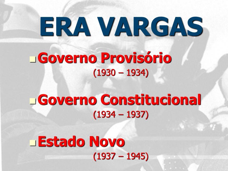 ERA VARGAS Governo Provisório Governo Constitucional Estado Novo