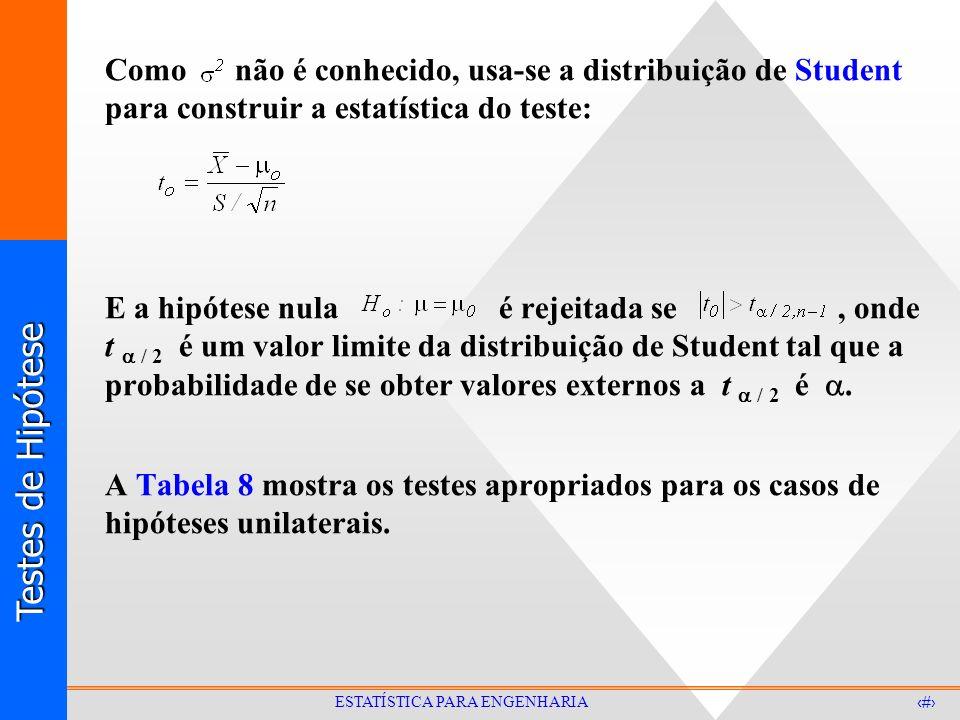 Como não é conhecido, usa-se a distribuição de Student para construir a estatística do teste: