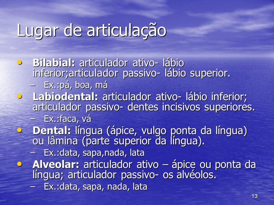 Lugar de articulação Bilabial: articulador ativo- lábio inferior;articulador passivo- lábio superior.