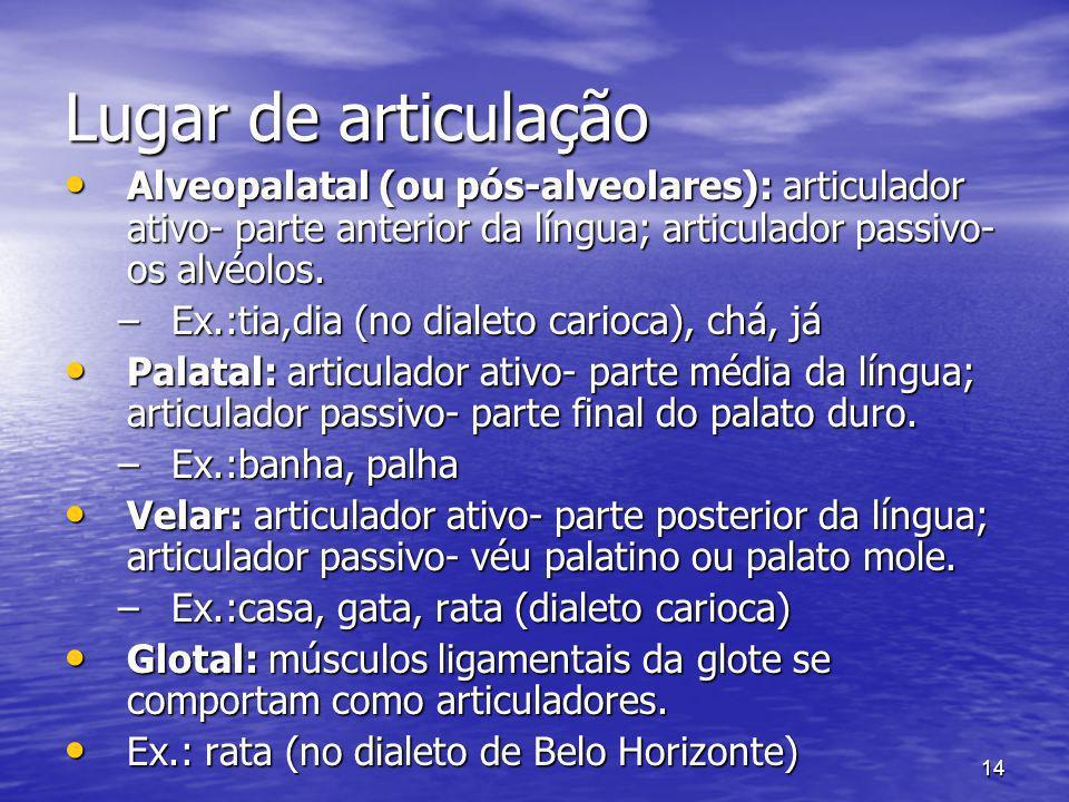 Lugar de articulação Alveopalatal (ou pós-alveolares): articulador ativo- parte anterior da língua; articulador passivo- os alvéolos.