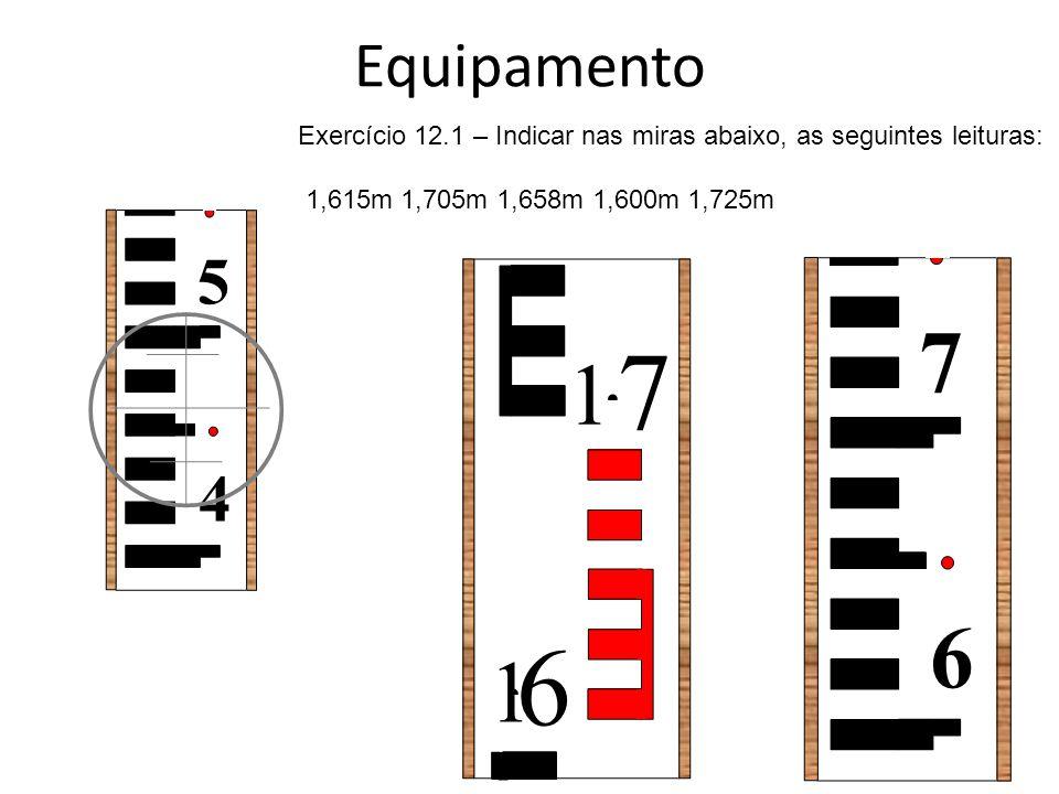 Equipamento Exercício 12.1 – Indicar nas miras abaixo, as seguintes leituras: 1,615m 1,705m 1,658m 1,600m 1,725m.