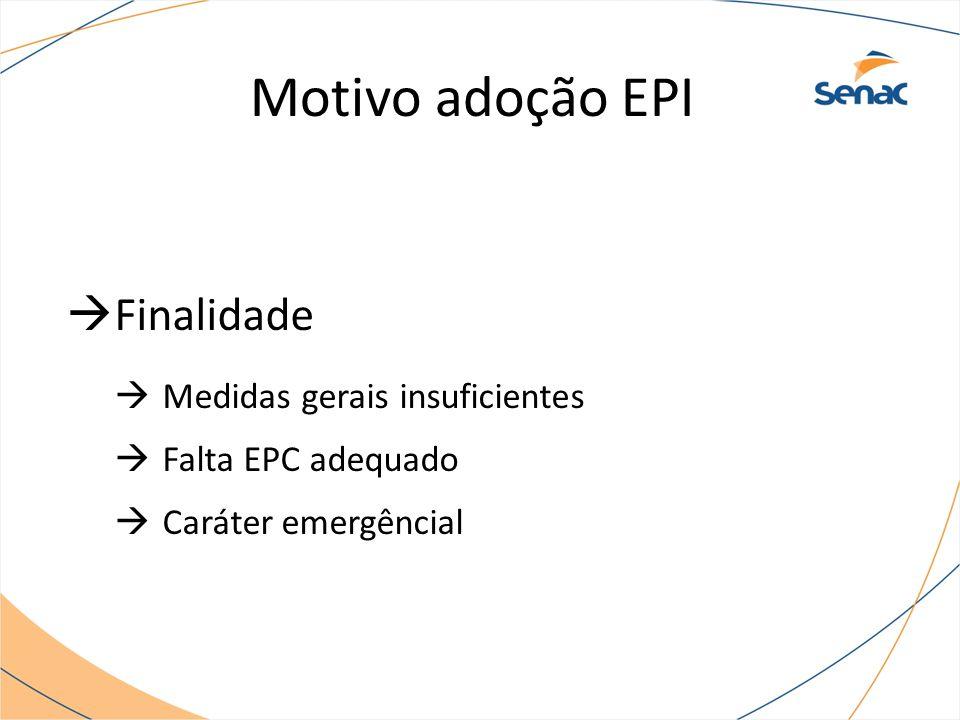 Motivo adoção EPI Finalidade Medidas gerais insuficientes