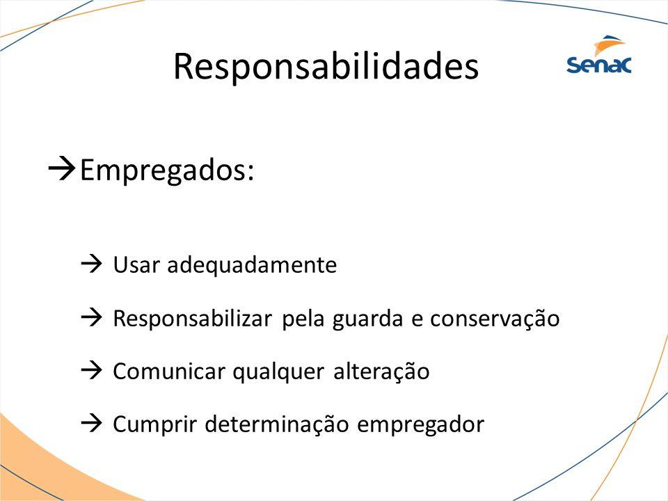 Responsabilidades Empregados: Usar adequadamente