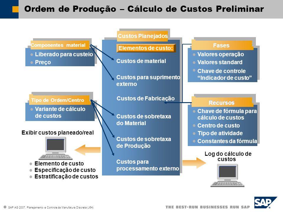 Ordem de Produção – Cálculo de Custos Preliminar