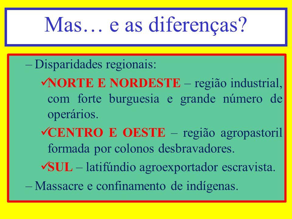 Mas… e as diferenças Disparidades regionais: