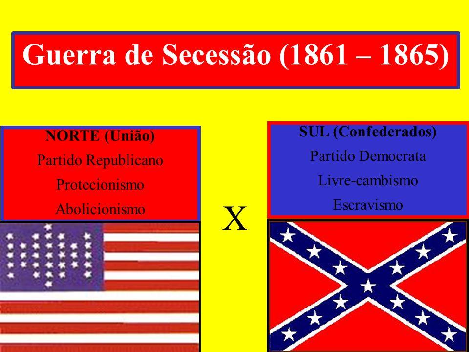 X Guerra de Secessão (1861 – 1865) SUL (Confederados) NORTE (União)
