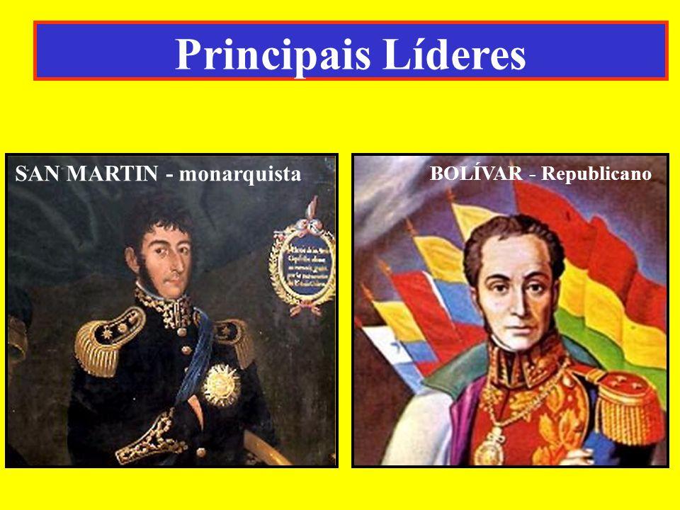 Principais Líderes SAN MARTIN - monarquista BOLÍVAR - Republicano