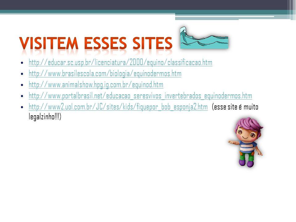 Visitem esses sites http://educar.sc.usp.br/licenciatura/2000/equino/classificacao.htm. http://www.brasilescola.com/biologia/equinodermos.htm.