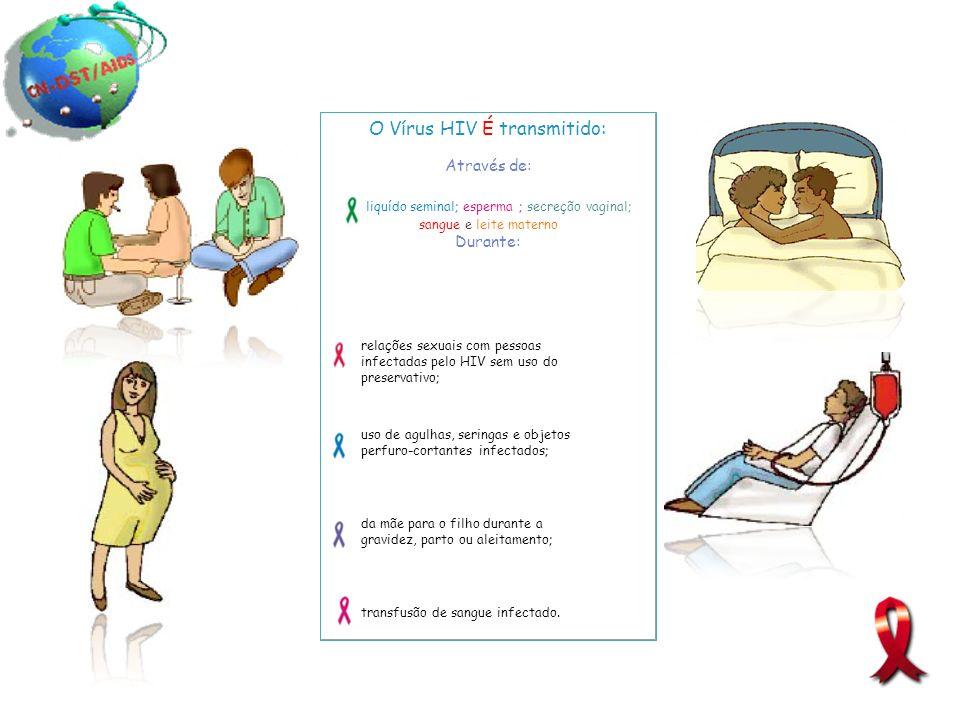 O Vírus HIV É transmitido: Através de: liquído seminal; esperma ; secreção vaginal; sangue e leite materno