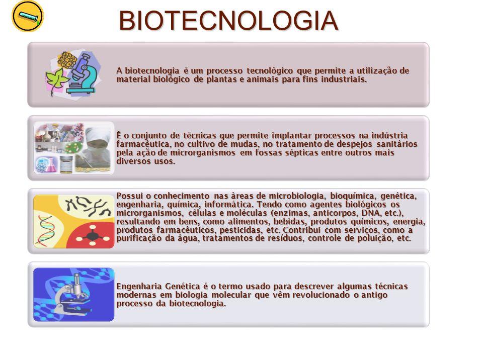 BIOTECNOLOGIAA biotecnologia é um processo tecnológico que permite a utilização de material biológico de plantas e animais para fins industriais.