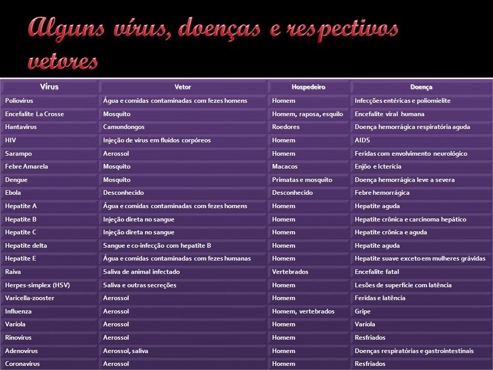 Alguns vírus, doenças e respectivos vetores