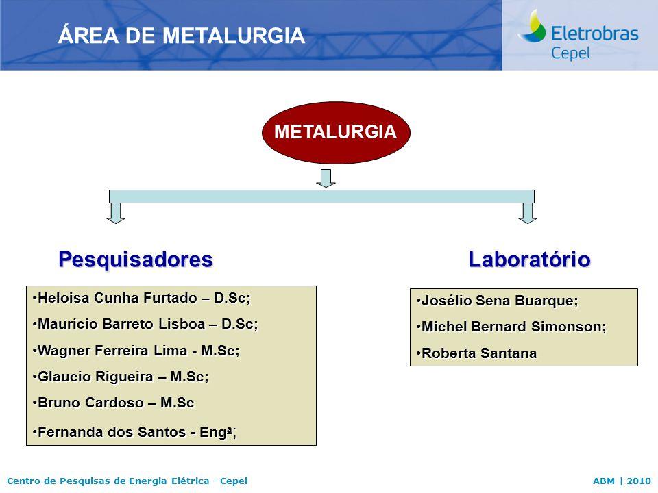 ÁREA DE METALURGIA Pesquisadores Laboratório METALURGIA