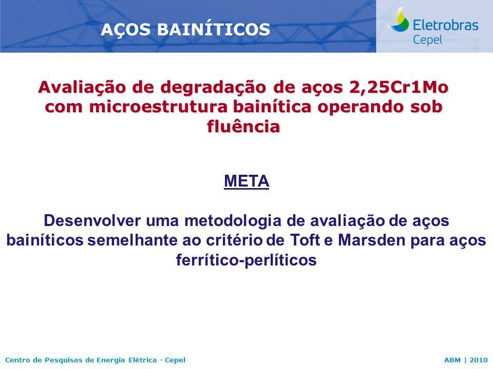 AÇOS BAINÍTICOS Avaliação de degradação de aços 2,25Cr1Mo com microestrutura bainítica operando sob fluência.