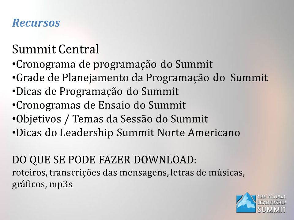 Summit Central Recursos Cronograma de programação do Summit