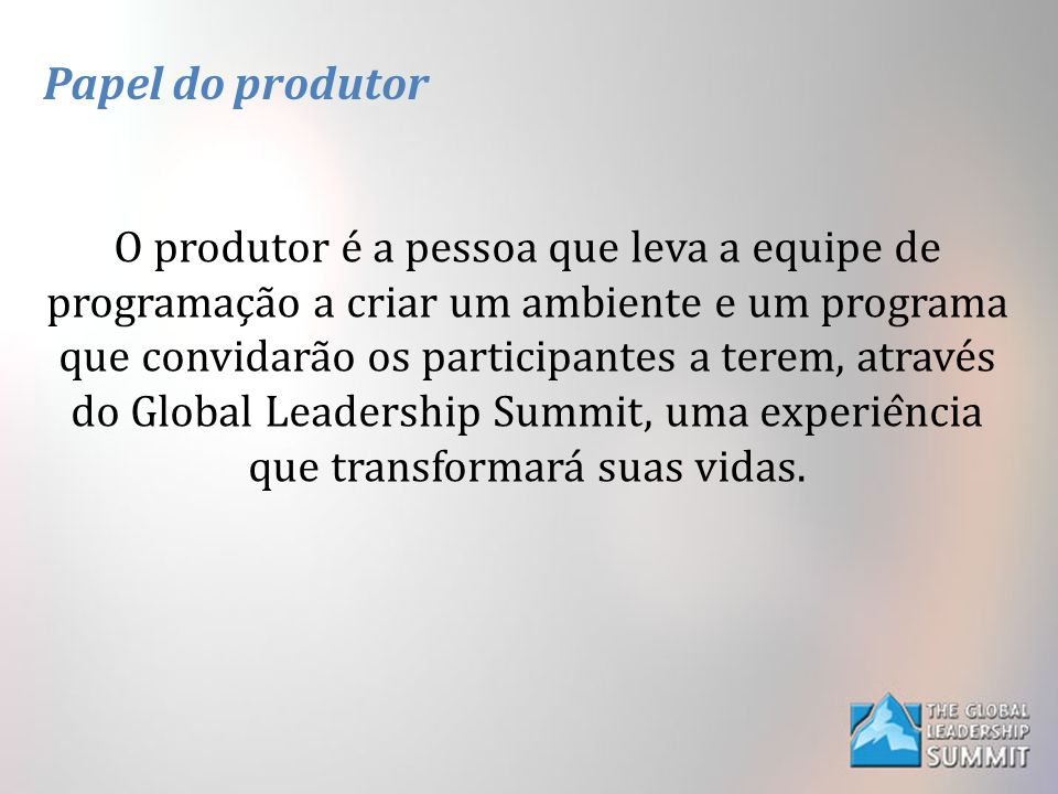 Papel do produtor