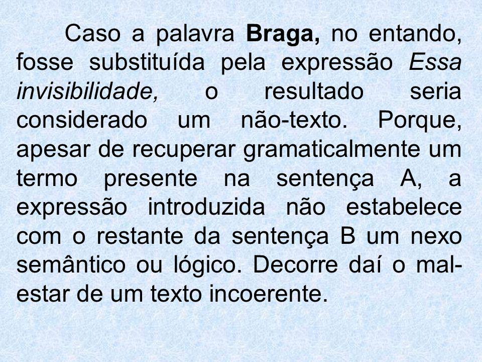 Caso a palavra Braga, no entando, fosse substituída pela expressão Essa invisibilidade, o resultado seria considerado um não-texto.