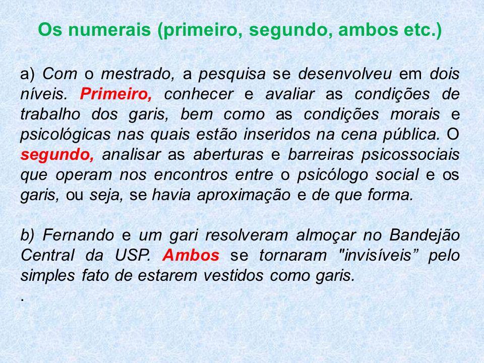 Os numerais (primeiro, segundo, ambos etc.)
