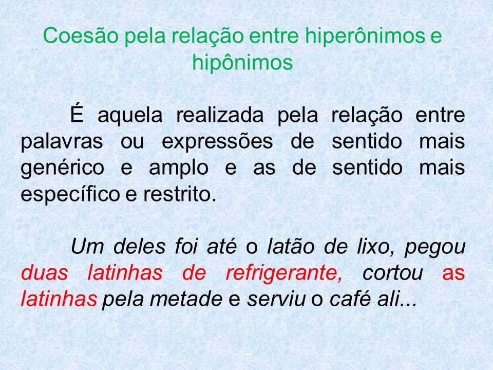 Coesão pela relação entre hiperônimos e hipônimos