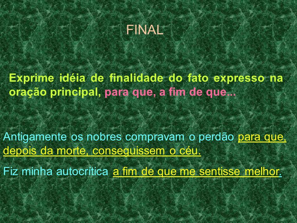 FINAL Exprime idéia de finalidade do fato expresso na oração principal, para que, a fim de que...