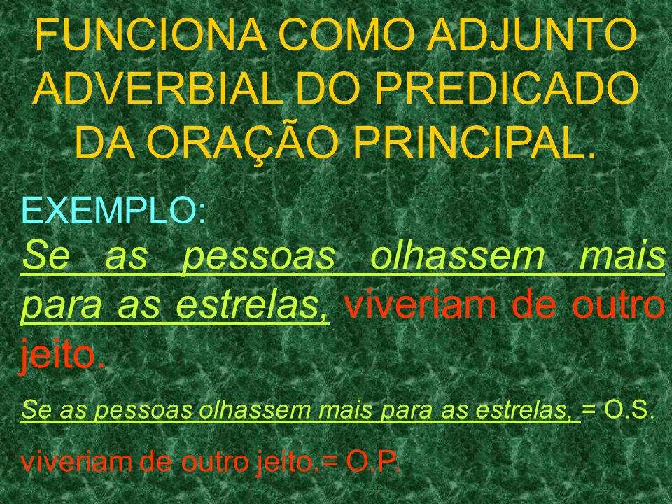 FUNCIONA COMO ADJUNTO ADVERBIAL DO PREDICADO DA ORAÇÃO PRINCIPAL.