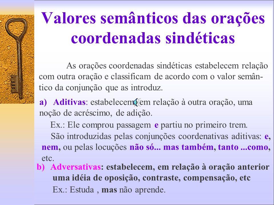 Valores semânticos das orações coordenadas sindéticas