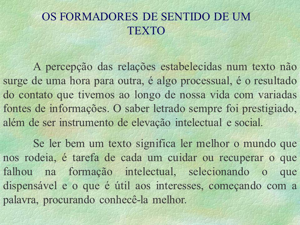 OS FORMADORES DE SENTIDO DE UM TEXTO
