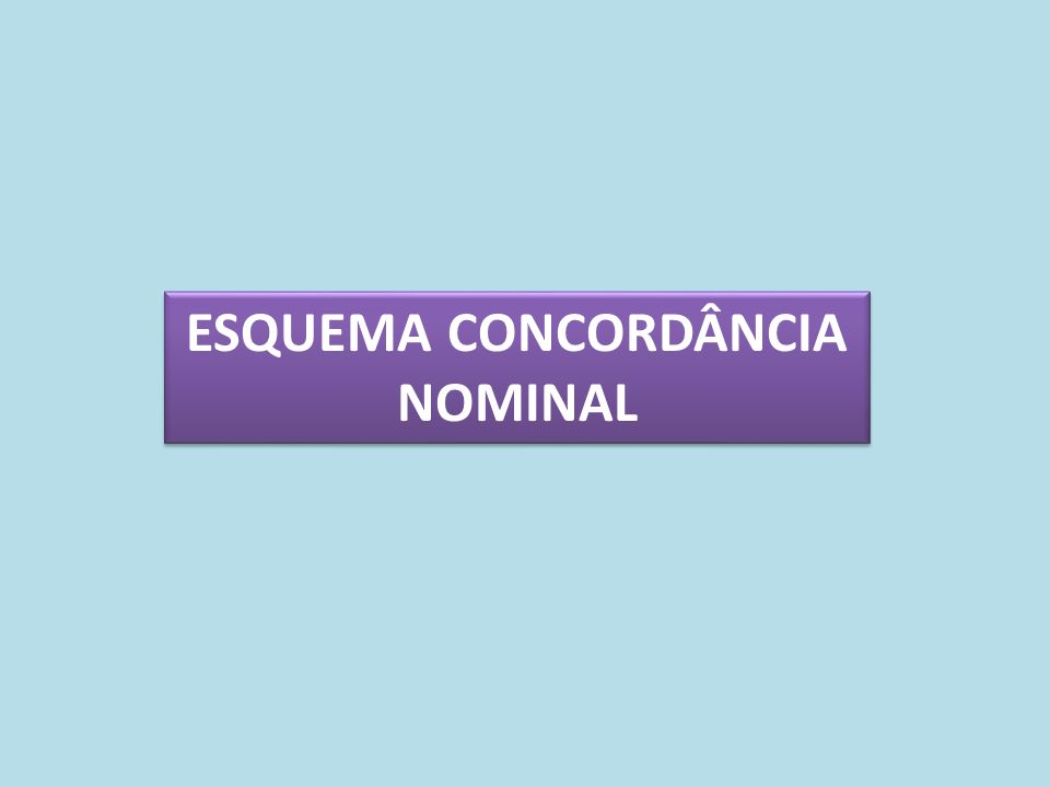 ESQUEMA CONCORDÂNCIA NOMINAL