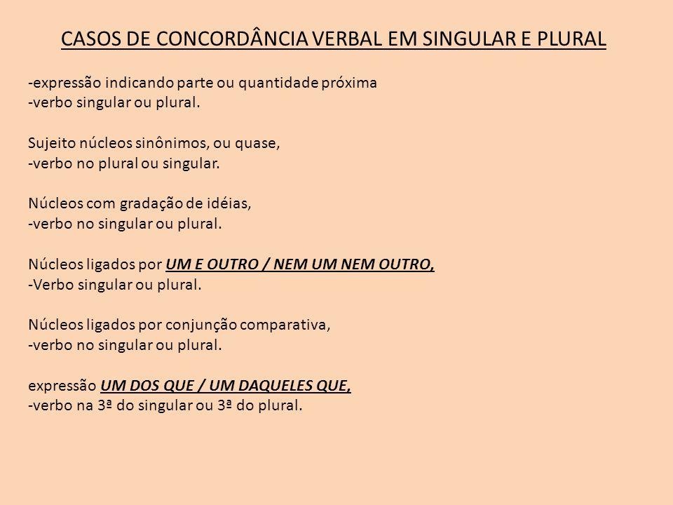 CASOS DE CONCORDÂNCIA VERBAL EM SINGULAR E PLURAL