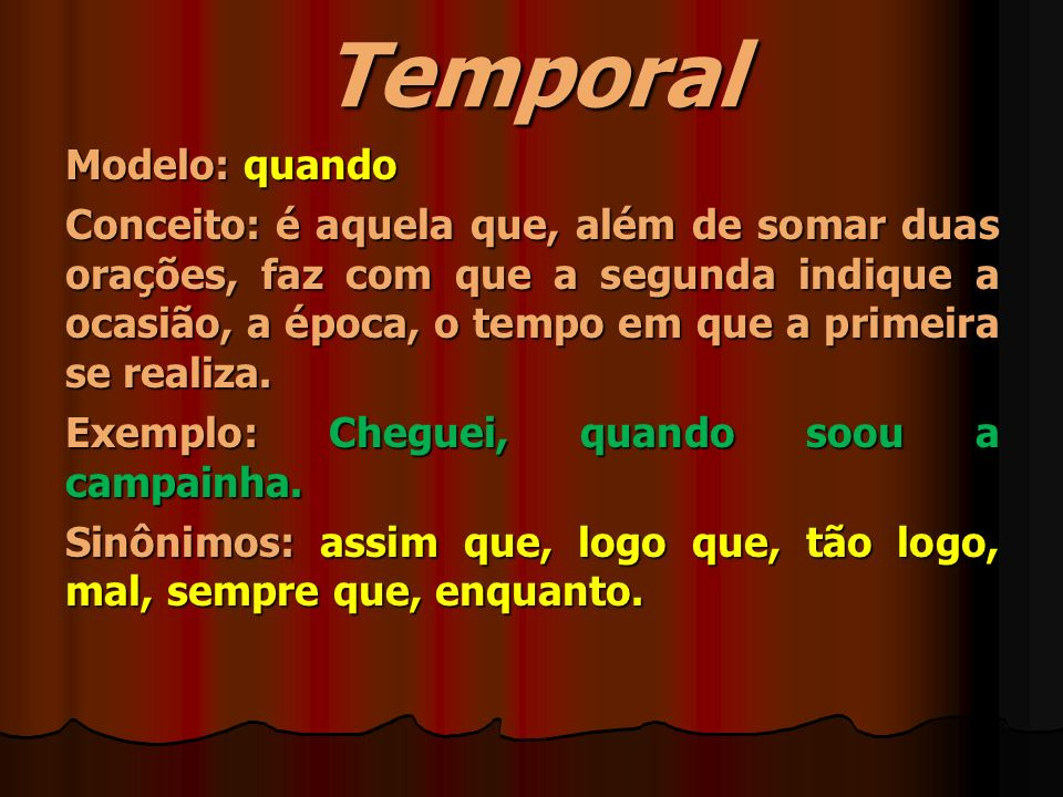 Temporal Modelo: quando