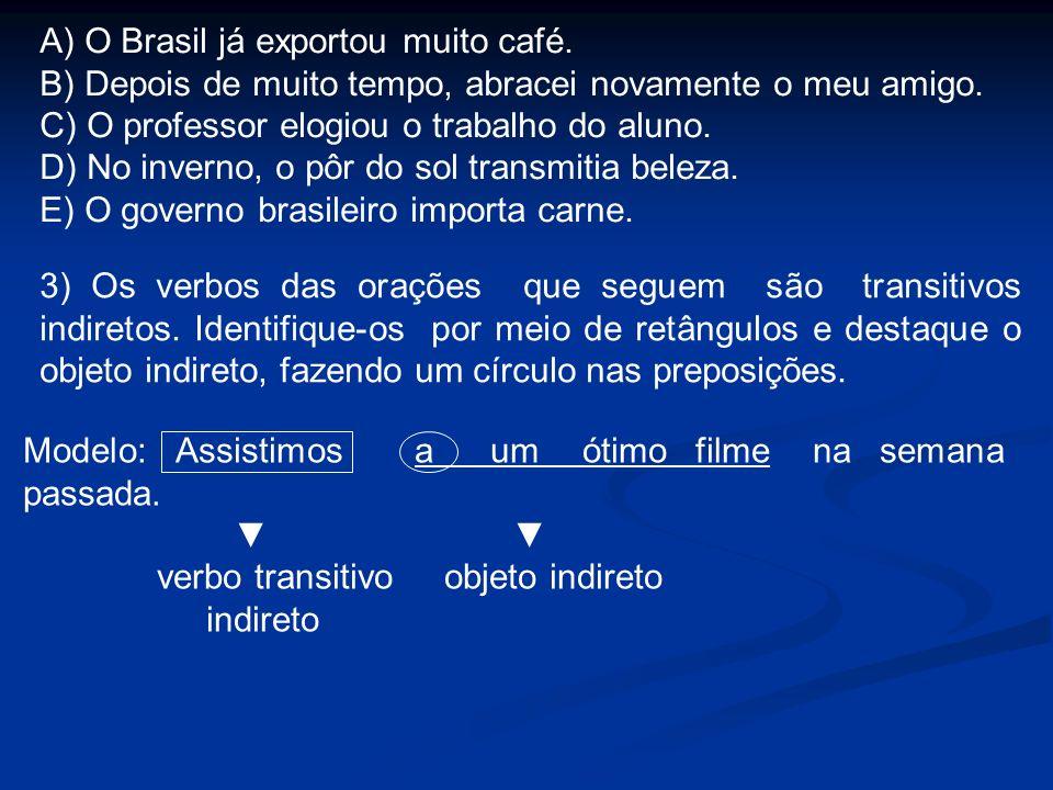 A) O Brasil já exportou muito café.