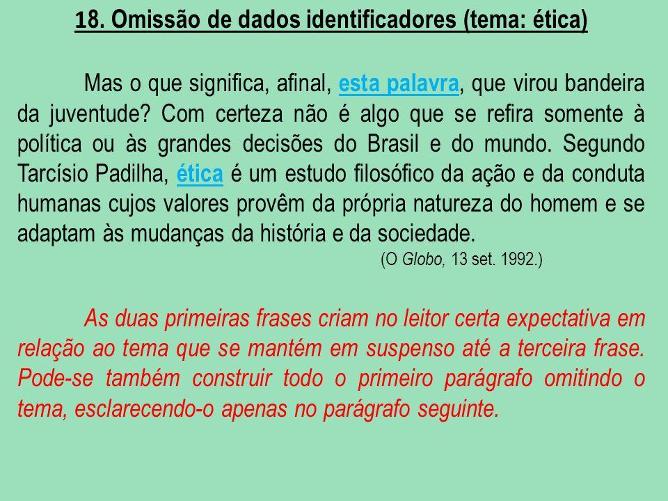 18. Omissão de dados identificadores (tema: ética)
