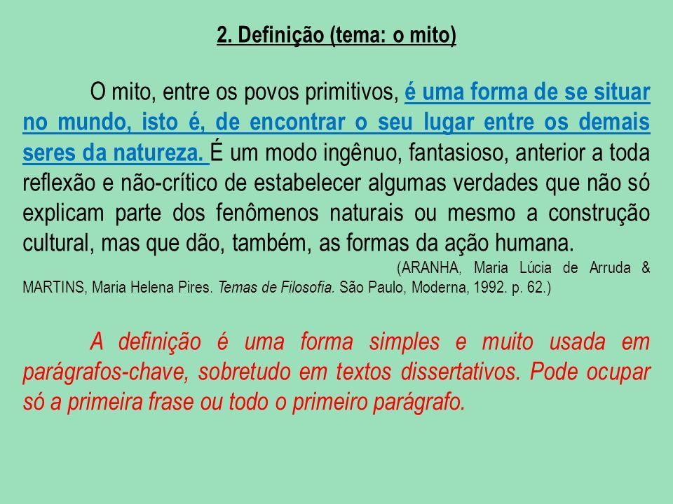 2. Definição (tema: o mito)