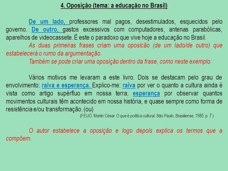 4. Oposição (tema: a educação no Brasil)