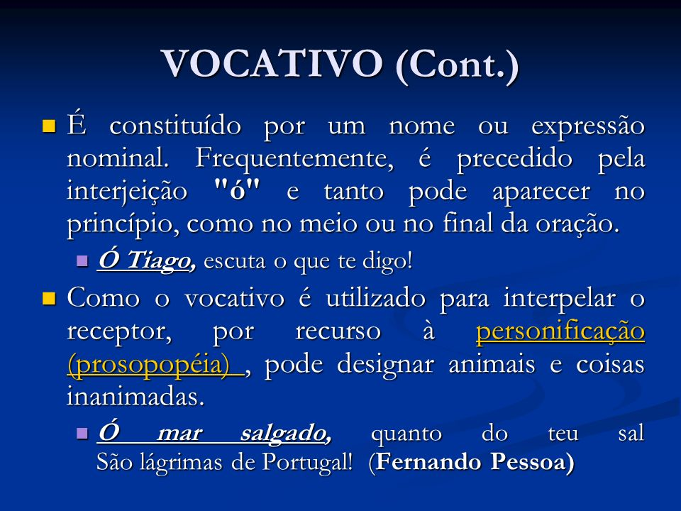 VOCATIVO (Cont.)