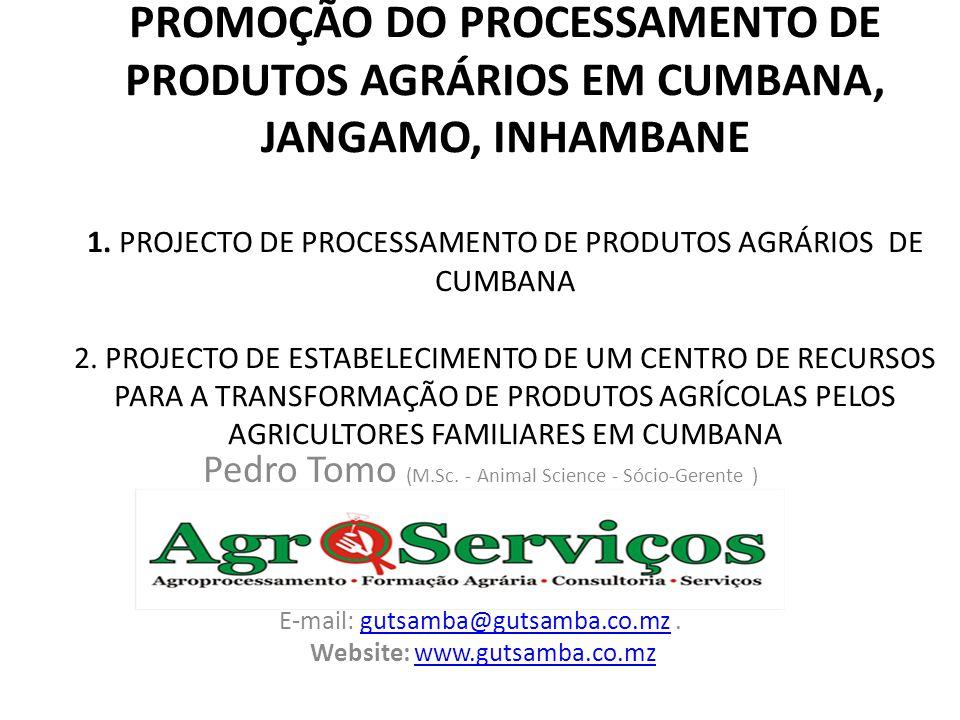 PROMOÇÃO DO PROCESSAMENTO DE PRODUTOS AGRÁRIOS EM CUMBANA, JANGAMO, INHAMBANE 1. PROJECTO DE PROCESSAMENTO DE PRODUTOS AGRÁRIOS DE CUMBANA 2. PROJECTO DE ESTABELECIMENTO DE UM CENTRO DE RECURSOS PARA A TRANSFORMAÇÃO DE PRODUTOS AGRÍCOLAS PELOS AGRICULTORES FAMILIARES EM CUMBANA