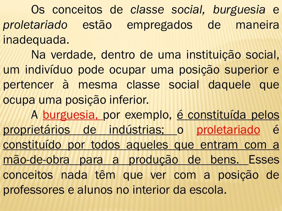 Os conceitos de classe social, burguesia e proletariado estão empregados de maneira inadequada.