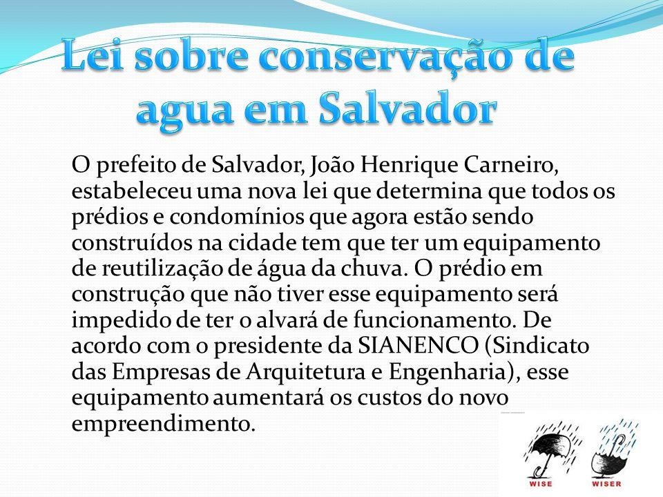 Lei sobre conservação de agua em Salvador