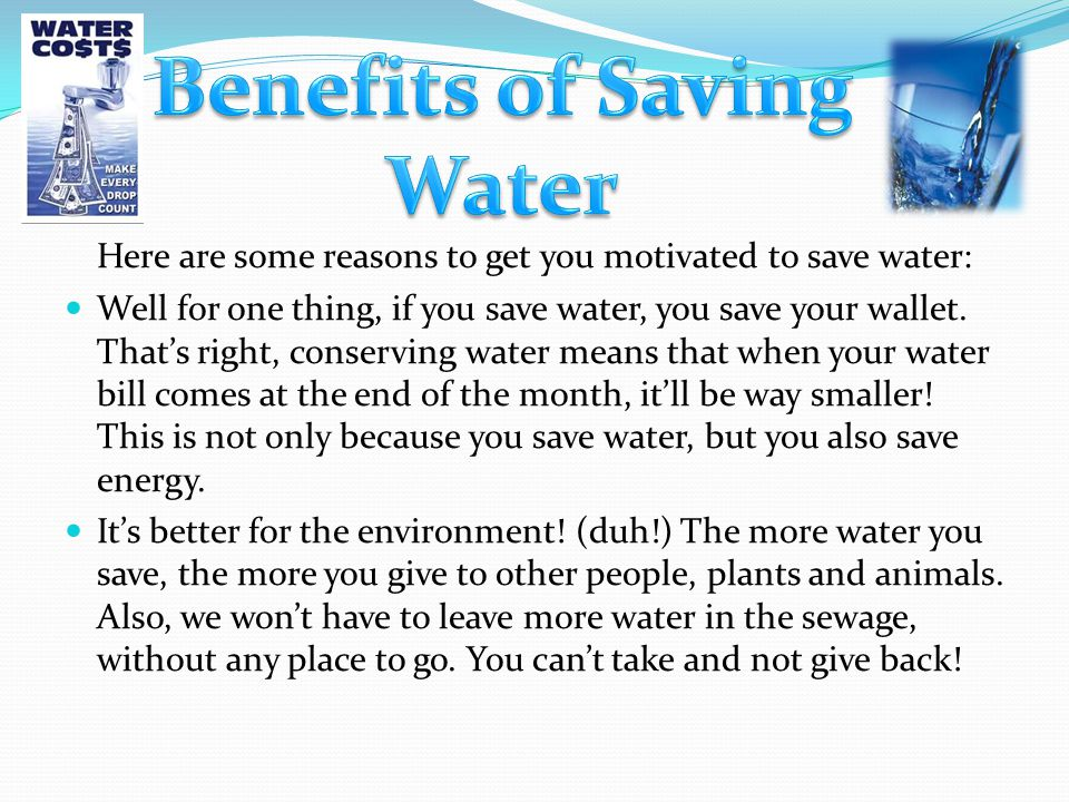 Benefits of Saving Water