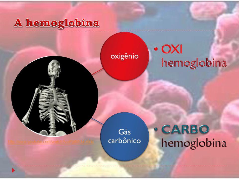 OXI hemoglobina CARBO hemoglobina A hemoglobina oxigênio Gás carbônico