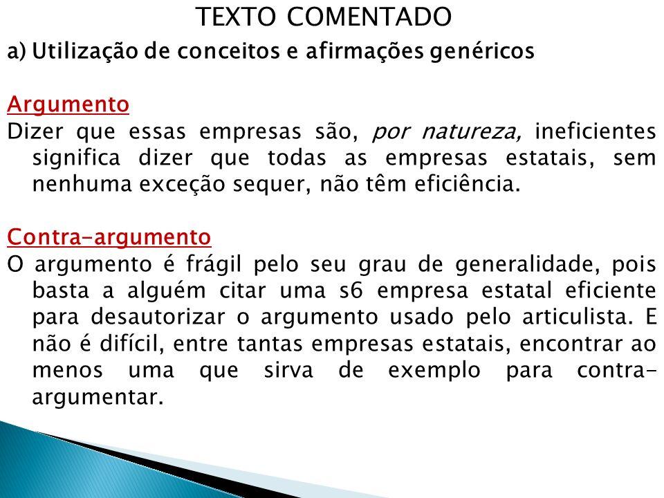 TEXTO COMENTADO Utilização de conceitos e afirmações genéricos