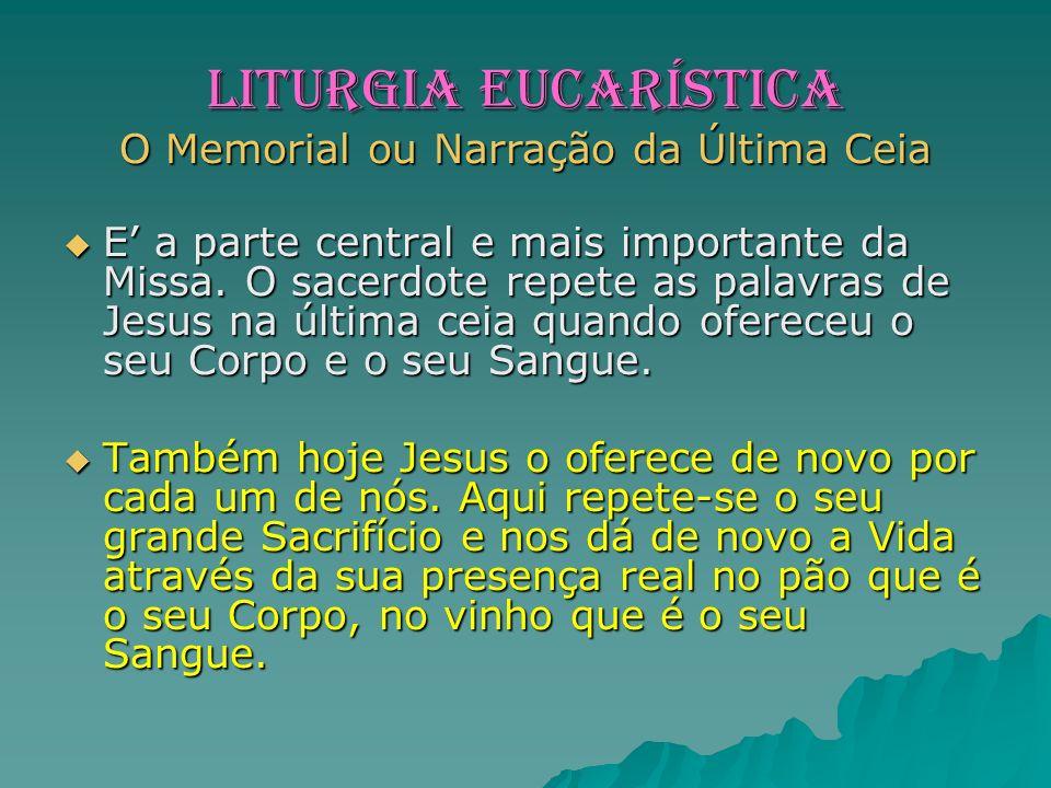 LITURGIA EUCARÍSTICA O Memorial ou Narração da Última Ceia